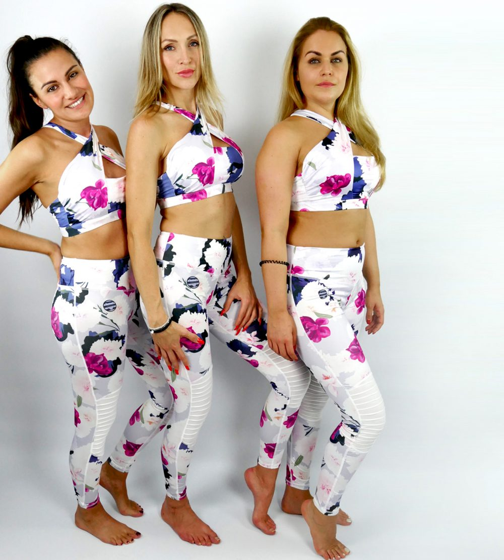 Yoga Set Fleur Blanche Sportbekleidung Yoga Outfit Fitness Outfit Sportswear